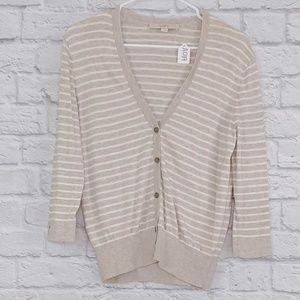 LOFT | Oatmeal Color Striped Long Sleeve Cardigan